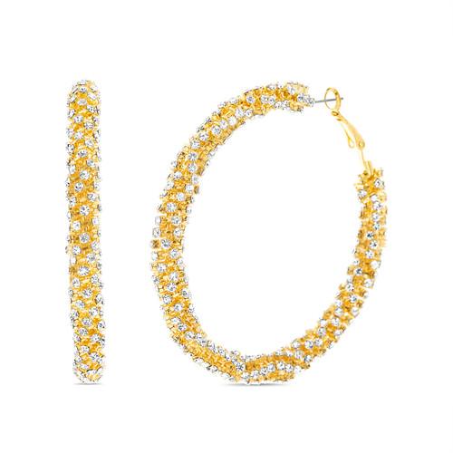 Gold Rhinestone Wrapped Tube Hoop Earring