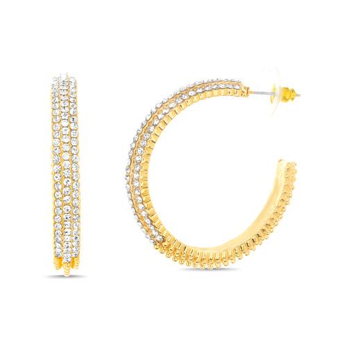Gold Textured Rhinestone Hoop Earring