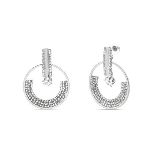 Silver Curved Cutout Disc Post Earring