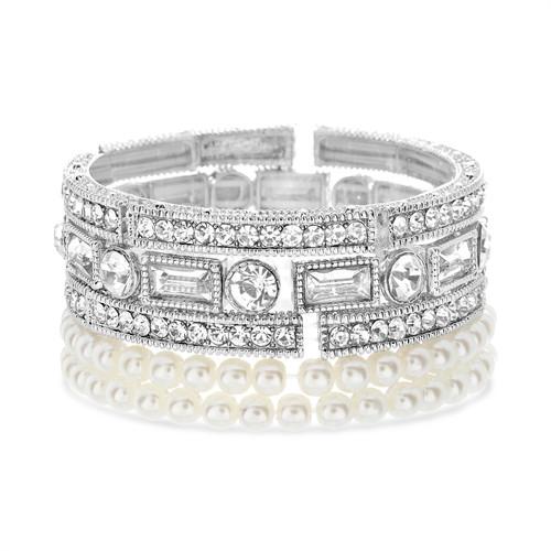 Silver Romantic 5 Piece Stretch Bracelet Set