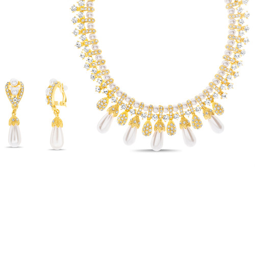 Gold Pearl And Stone Collar Necklace And Earring Set