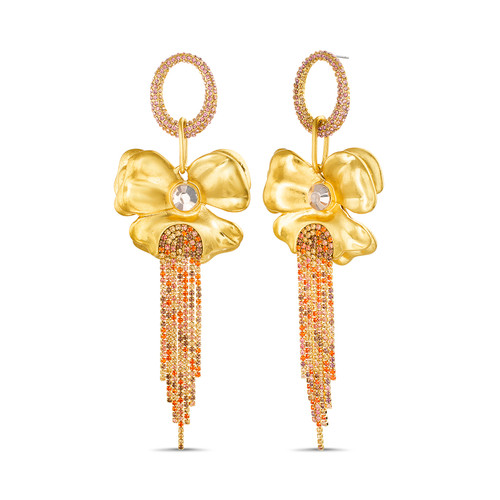 Gold Floral Drop Earrings With Colored Stone Fringe
