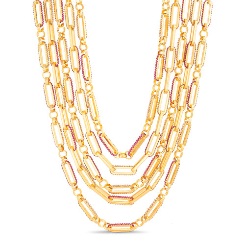 Gold Multi Row Stone Accented Link Necklace