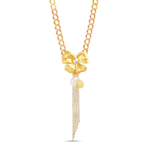 Gold Floral and Shell Pendant With Rhinestone Fringe
