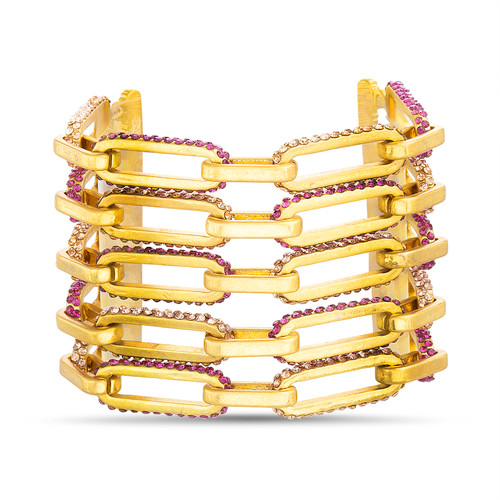 Gold Multi Row Stone Accented Link Bracelet