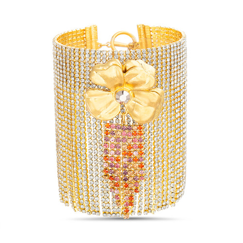 Gold Statement Bracelet With Flower And Rhinestone Fringe