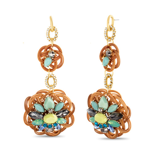 Gold Double Drop Rattan And Multi Stone Earrings