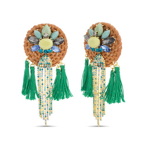Gold Statement Rattan Button Earrings With Tassels