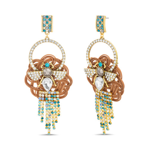Gold Rattan and Stone Fringe Drop Earrings