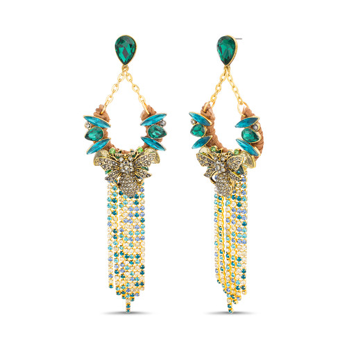Gold Rattan and Stone Trapeze Fringe Drop Earrings