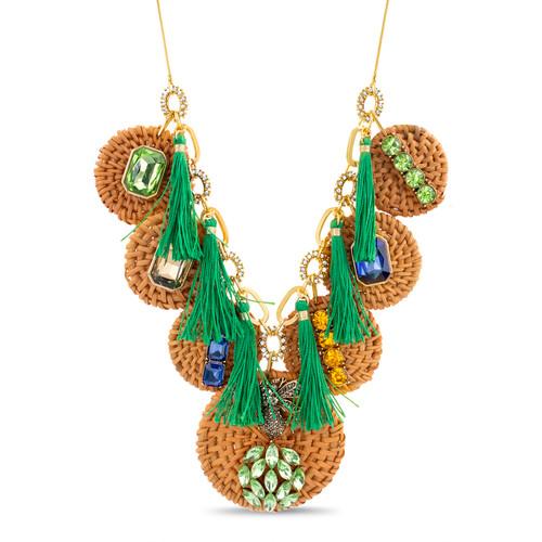 Gold Statement Rattan Discs Pull Tie Necklace