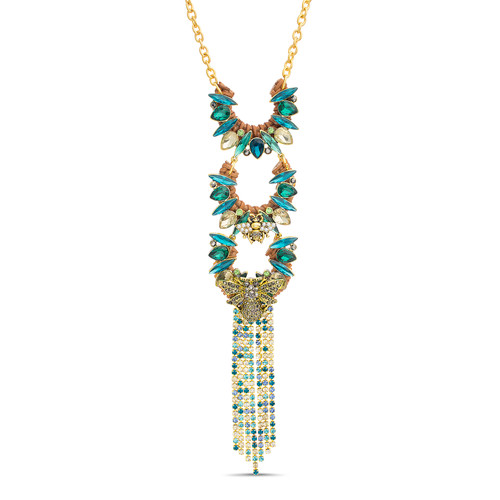 Gold Rattan and Stone Trapeze With Stone Fringe Necklace