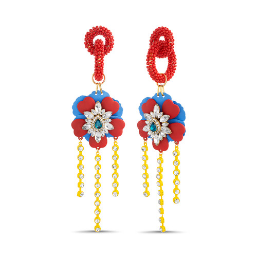 Gold Colorful Floral Drop Earrings