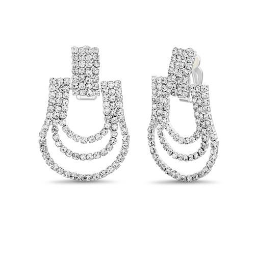 Silver Draped Rhinestone Doorknocker Clip Earrings