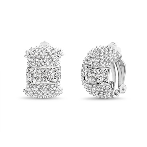 Silver Pave and Beaded Texture Clip Wedding Band Earrings