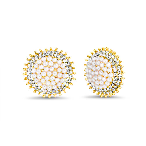 Gold Pearl and Stone Round Button Earrings