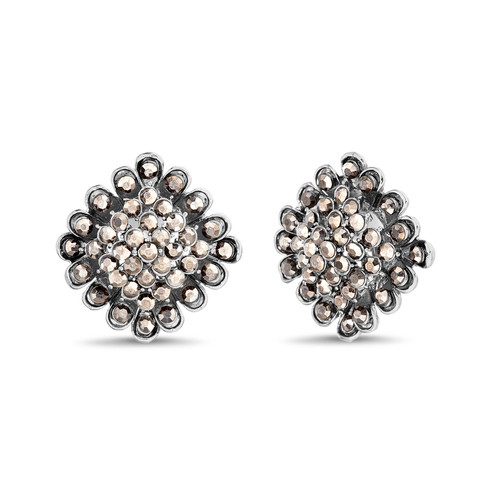 Hematite Diamond Shape Button Clip Earrings