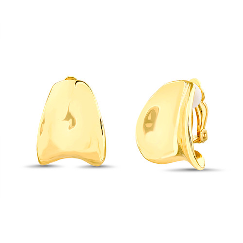 Gold Curved Button Clip Earrings