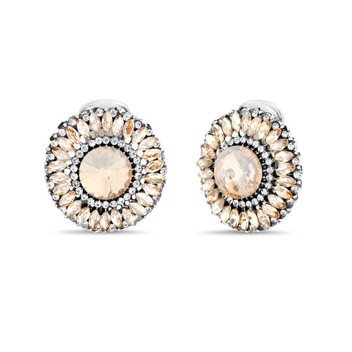 Silver Multi Stone Round Button Earrings