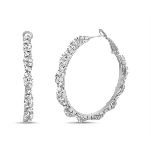 Silver Twisted Rhinestone Hoop Earrings