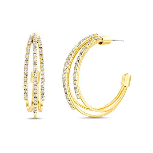 Gold 3 Line Stone C Hoop Earrings