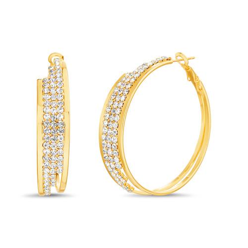 Gold Pave Hoop Earrings