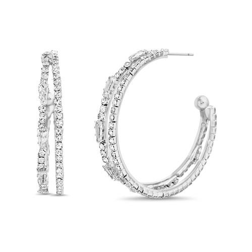 Silver 2 Line Pave Hoop Earrings