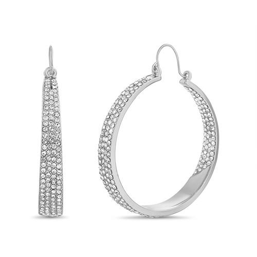 Silver Pave Tapered Hoop Earrings
