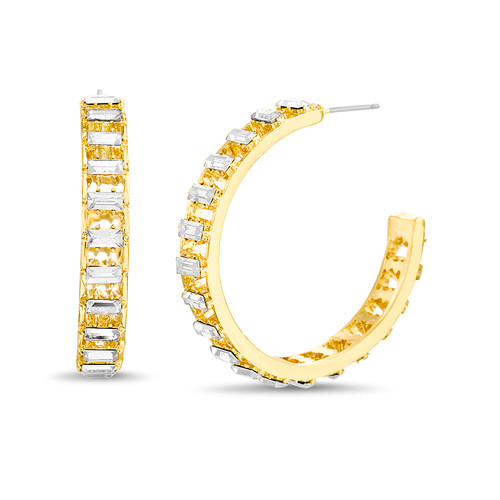 Gold Oval Baguette Stone C Hoop Earrings