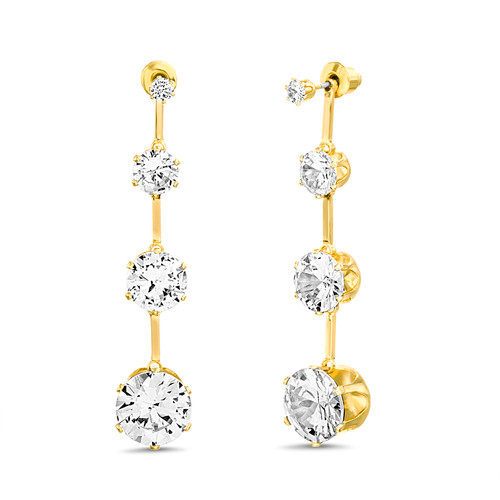 Gold Graduated Stone Drop Linear Earrings