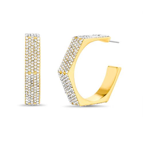 Gold Pentagon Shaped C Hoop Earrings
