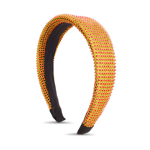 Gold Red Stone Striped Headband