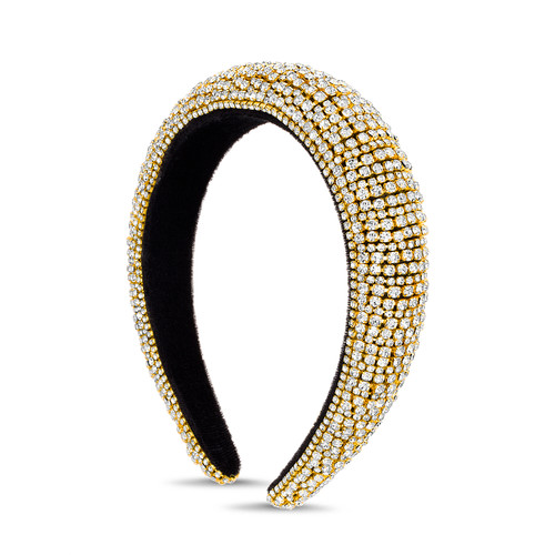 Gold Rhinestone Chain Pave Padded Headband