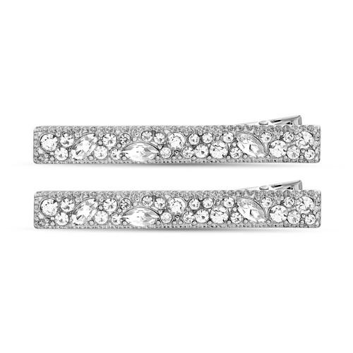 Silver 2 Piece Crystal Rectangle Hair Clip Set
