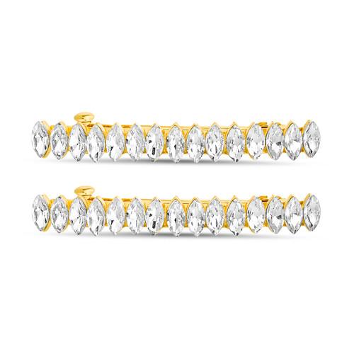 Gold 2 Piece Marquise Stone Bar Hair Barette Clip Set