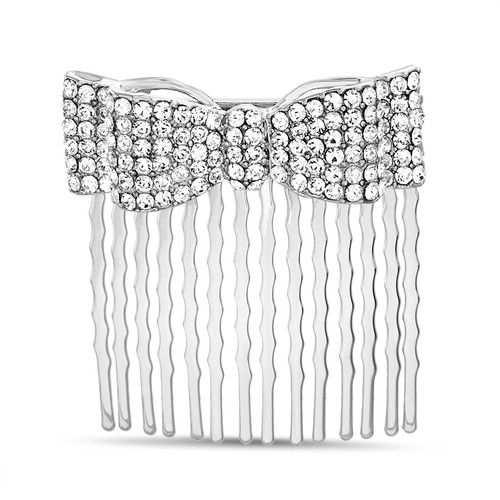 Silver Pave Bow Hair Comb