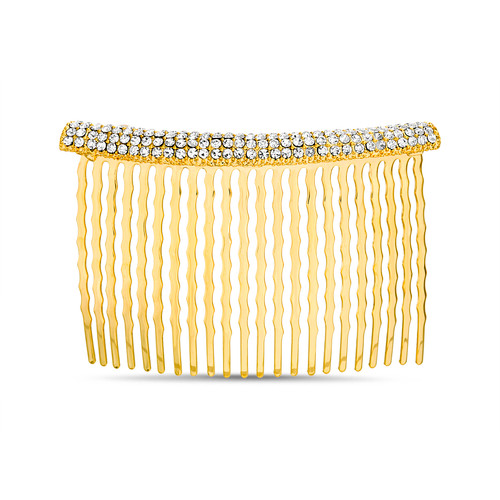 Gold Pave Curved Bar Hair Comb