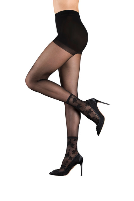 Black Lola Sheer Tights With Lace Anklet