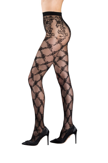 Black Diana Floral Diamond Sheer Tights