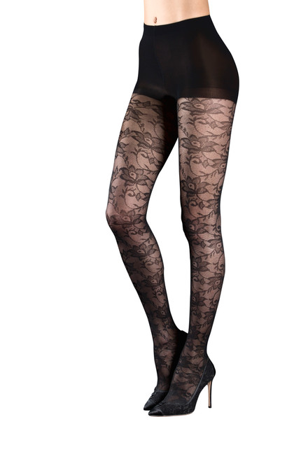 Black Haily Gothic Lace Floral Tights