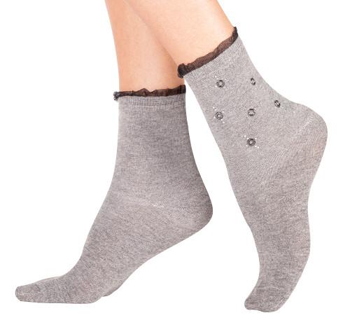 Gray Rhinestone Embellished Crew Socks