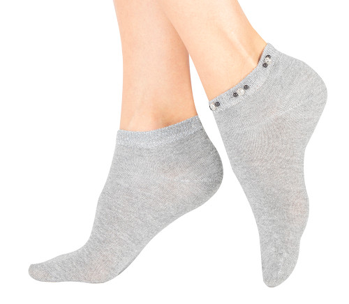 Gray Rhinestone and Lurex Embellished Cuff Cotton Low Cut Socks