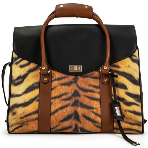 Tiger Vegan Leather Travel Tote Weekender Bag Front