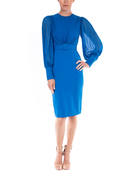 Capri Blue Pleated, Belted Cuff-Detail Dress Front