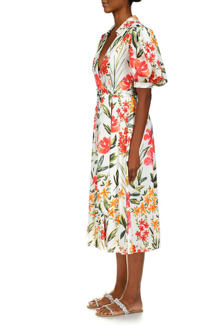 White Multi Floral Print Midi Dress Front Side