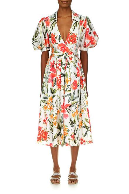 White Multi Floral Print Midi Dress Front