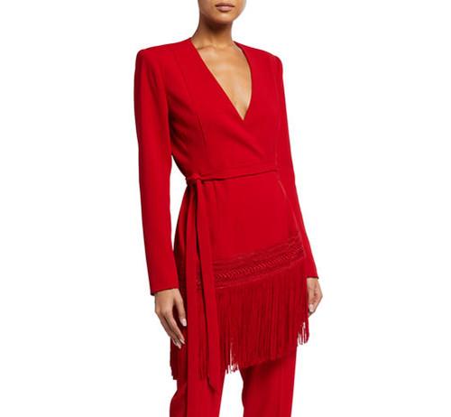 Red Fringe Trim Wrap Jacket Front