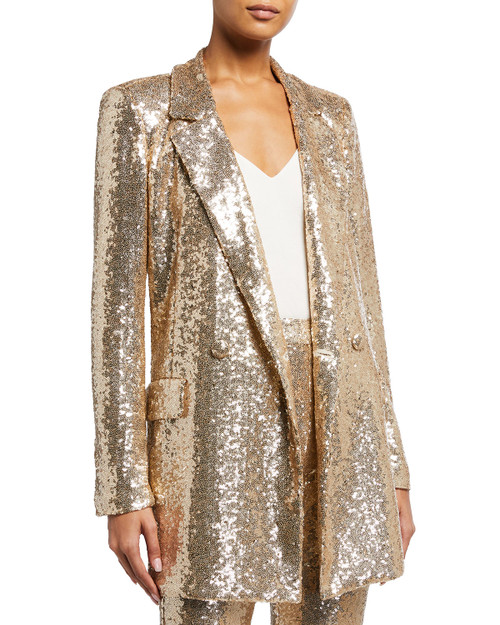 Champagne Sequin Blazer With Self Sash Front