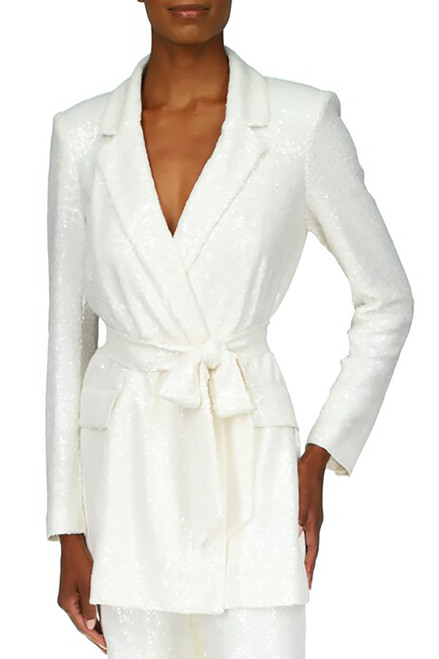 White Sequin Belted Jacket Front