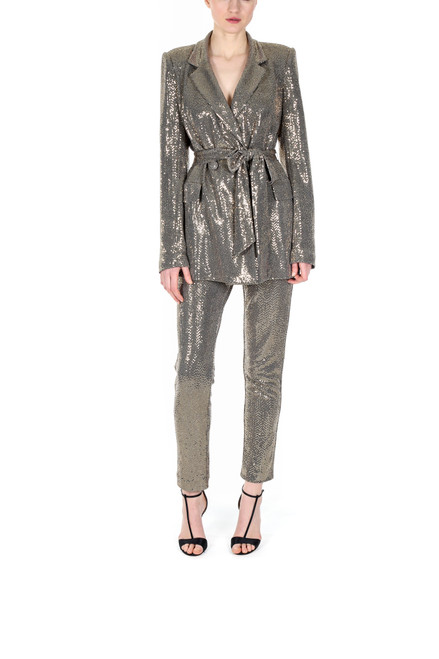 Gold Runway Sequin Slim Fit Ankle Length Pant Front